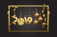 Happy new year 2019 background. Design stock illustration
