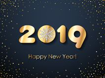 2019 Happy New Year background. Seasonal greeting card template. 2019 Happy New Year background with diamond snowflake. Christmas winter holidays design royalty free illustration