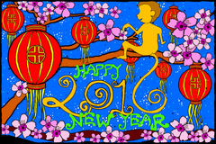 Happy New Year 2016 background. Easy to edit vector illustration of Happy New Year with monkey for 2016 vector illustration