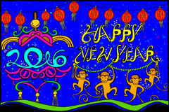 Happy New Year 2016 background. Easy to edit vector illustration of Happy New Year with monkey for 2016 stock illustration