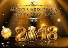 Happy New Year 2018 - Background. Elegant black background illustration with glowing, sparkling stars, and fireworks, for the Year 2018 royalty free illustration
