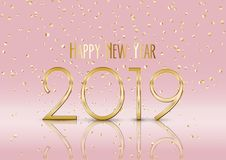 Happy New Year background with gold confetti. Happy New Year background with falling gold confetti vector illustration