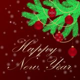Happy new year background with fir branches and Christmas decorations. Vector illustration Stock Photo