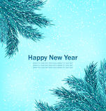 Happy New Year Background with Fir Branches Royalty Free Stock Image