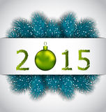 Happy New Year background with fir twigs Royalty Free Stock Image