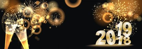 Happy New Year background  with firework. Sylvester background at night with big golden firework reflection and Happy New Year greetings Stock Photos