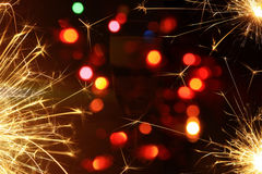 Happy new year background with fireworks. Happy new  year background with glass of champagne Stock Photo