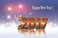 Happy New Year 2017 on a background of fireworks Stock Image