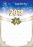 Happy New Year 2018 background. New Year background with fireworks and Christmas decoration Stock Image