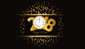 Happy new year 2018 background with fireworks and gold clock.  Royalty Free Stock Photo