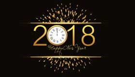 Happy new year 2018 background with fireworks and gold clock.  Stock Photos
