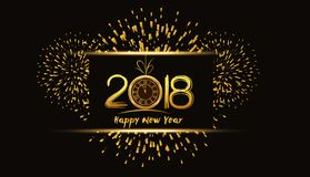 Happy new year 2018 background with fireworks and gold clock.  Stock Photography