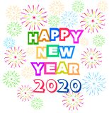 Happy New Year 2020 background with fireworks. stock illustration