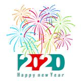 Happy New Year 2020 background with fireworks. royalty free illustration