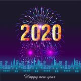 Happy New Year 2020 background with fireworks. vector illustration