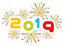 2019 Happy new year background with fireworks second edition. 2019 Happy new year background with fireworks second royalty free illustration