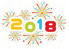 2018 Happy new year background with fireworks second edition. For web royalty free illustration