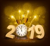 Happy New Year background with 2019 and fireworks. Vect Royalty Free Stock Photography