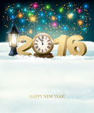 Happy New Year 2016 background with fireworks. Vector royalty free illustration