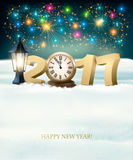 Happy New Year 2017 background with fireworks. Vector royalty free illustration