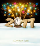 Happy New Year 2017 background with fireworks. Stock Photography