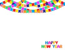 Happy New Year Background with Garland of color Party flags Isolated on White. Royalty Free Stock Photography