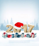 Happy new year background with a 2017 and a gift boxes. Royalty Free Stock Images