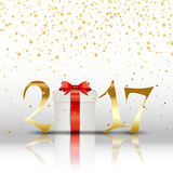 Happy New Year background with gift. And golden letters Stock Image