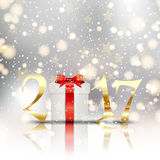 Happy New Year background with gift Royalty Free Stock Photo