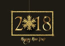 Happy New Year background with glittery snowflake. Happy New Year background with decorative gold glittery snowflake and border Royalty Free Stock Photo