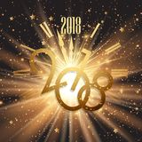 Happy New Year background with glowing lights and stars. Happy New Year background with clock design, glowing lights and stars Stock Photography
