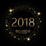Happy New Year background with glowing lights text 2018 on black background. Vector. Happy New Year background with glowing lights text on black background stock illustration