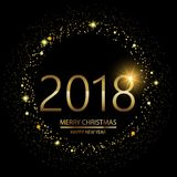 Happy New Year background with glowing lights text 2018 on black background. Vector. Happy New Year background with glowing lights text on black background vector illustration
