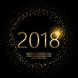 Happy New Year background with glowing lights text 2018 on black background. Vector. Happy New Year background with glowing lights text on black background royalty free illustration