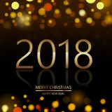 Happy New Year background with glowing lights text on defocused background. Vector.  vector illustration