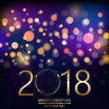 Happy New Year background with glowing lights text on defocused lights background. Vector.  royalty free illustration