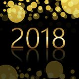 Happy New Year background with glowing lights text on defocused background. Vector.  royalty free illustration