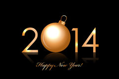 2014 Happy New Year background with gold christmas. Vector 2014 Happy New Year background with gold christmas bauble Royalty Free Stock Image