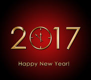 2017 Happy New Year background with gold clock.  Stock Image