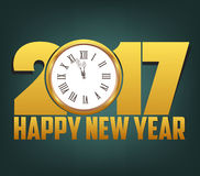 Happy New Year 2017 background with gold clock.  Royalty Free Stock Photo