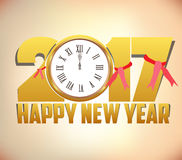 Happy New Year 2017 background with gold clock.  Stock Photo