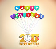 Happy New Year 2017 background with gold clock and balloons.  Royalty Free Stock Images