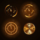 Happy New Year background gold clock Royalty Free Stock Images