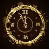 Happy New Year background gold clock Royalty Free Stock Photography