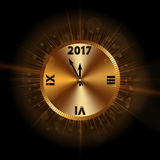 Happy New Year background gold clock Royalty Free Stock Photos