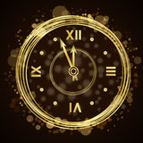 Happy New Year background gold clock Stock Photography