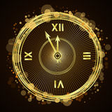 Happy New Year background gold clock Royalty Free Stock Photo