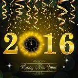 Happy New Year 2016 background with gold clock Stock Images