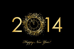 2014 Happy New Year background with gold clock Royalty Free Stock Photography