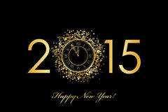 2015 Happy New Year background with gold clock Royalty Free Stock Images